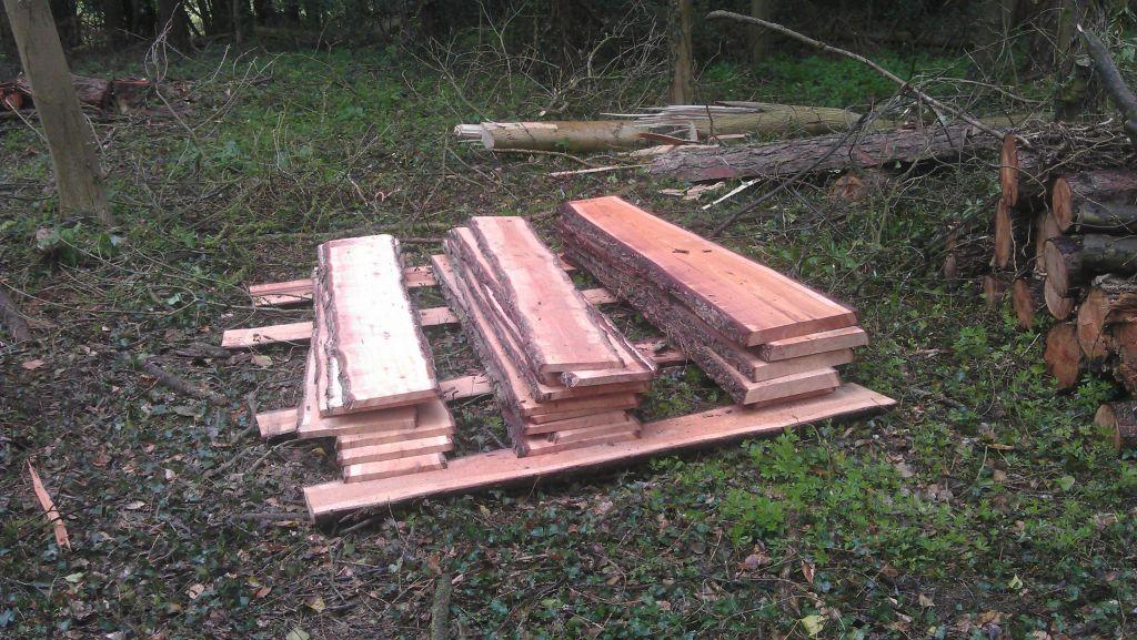 Newly sawn planks